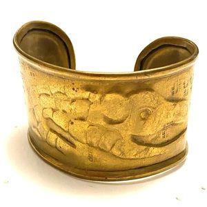 Vintage Crocodile Brass Cuff Bracelet